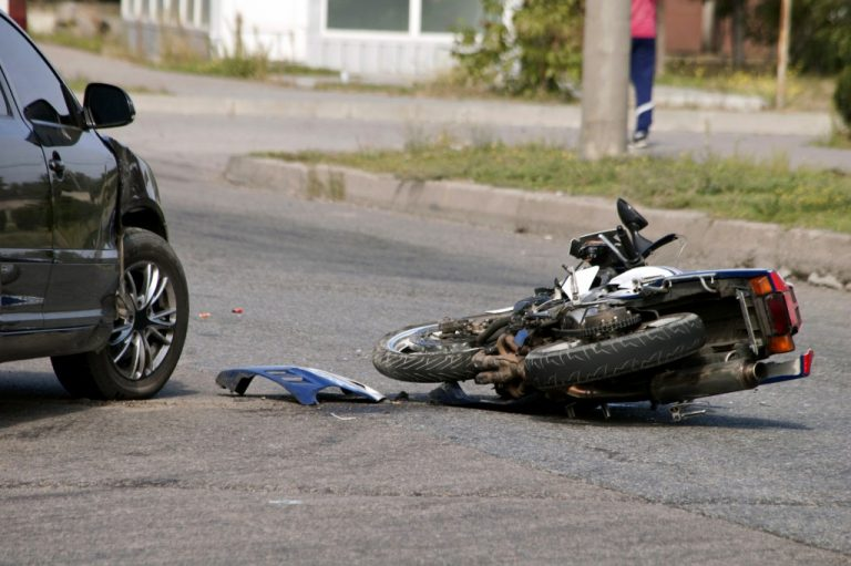 Car and motorcycle collision