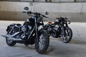 two black motorcycles